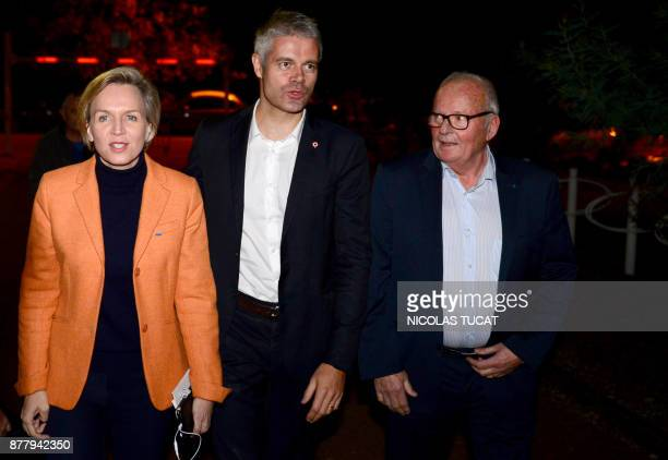 French rightwing Les Republicains party vicepresident and candidate for the party's presidency Laurent Wauquiez and Bordeaux Deputy Mayor Virginie...