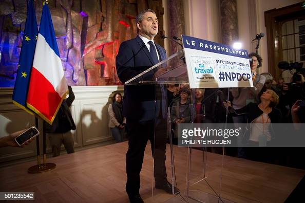 French rightwing Les Republicains party's top candidate for the regional election in the NordPasdeCalais region Xavier Bertrand delivers a speech...