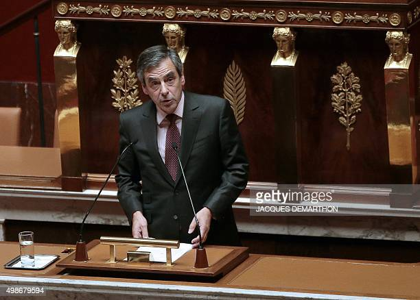 French rightwing opposition Les Republicains party member of Parliament Francois Fillon speaks during a debate ahead of a parliamentary vote on...