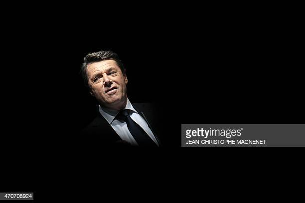 French rightwing opposition UMP mayor of Nice Christian Estrosi delivers a speech to introduce to the stage former French president and current UMP...
