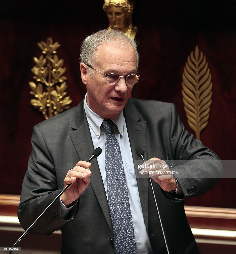 French right-wing opposition UMP party MP and President of the Law Committee, Gilles Carrez speaks during a debate upon a bill on separation and regulation of banking activities on February 12, 2013 at the French National Assembly in Paris.