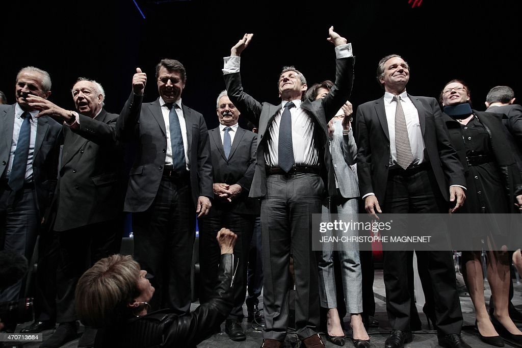 French right-wing opposition UMP Senator <a gi-track='captionPersonalityLinkClicked' href=/galleries/search?phrase=Hubert+Falco&family=editorial&specificpeople=3023353 ng-click='$event.stopPropagation()'>Hubert Falco</a>, French UMP Senator and mayor of Marseille <a gi-track='captionPersonalityLinkClicked' href=/galleries/search?phrase=Jean-Claude+Gaudin&family=editorial&specificpeople=642983 ng-click='$event.stopPropagation()'>Jean-Claude Gaudin</a>, UMP MP and mayor of Nice <a gi-track='captionPersonalityLinkClicked' href=/galleries/search?phrase=Christian+Estrosi&family=editorial&specificpeople=641468 ng-click='$event.stopPropagation()'>Christian Estrosi</a>, former French president and current UMP president, <a gi-track='captionPersonalityLinkClicked' href=/galleries/search?phrase=Nicolas+Sarkozy&family=editorial&specificpeople=211375 ng-click='$event.stopPropagation()'>Nicolas Sarkozy</a>, French senator Dominique Estrosi-Sassone, and UMP MEP Renaud Muselier sing the French national athem, the 'Marseillaise', at the end of a political meeting, on April 22, 2015 in Nice, southeastern France. The vote to choose the UMP candidate for 2017 French presidential election is scheduled in November 2016.