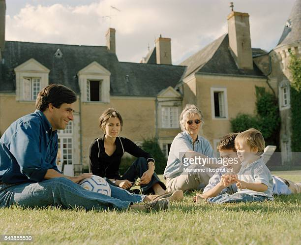 French rightwing politician Francois Fillon who went on to become senator of Sarthe in 2005 with his wife Penelope Clarke and their children Marie...