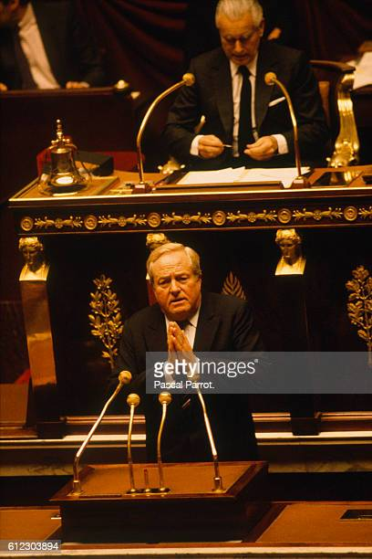 French rightwing politician JeanMarie Le Pen addresses the tribunal of the National Assembly during a vote on the question of confidence of Prime...