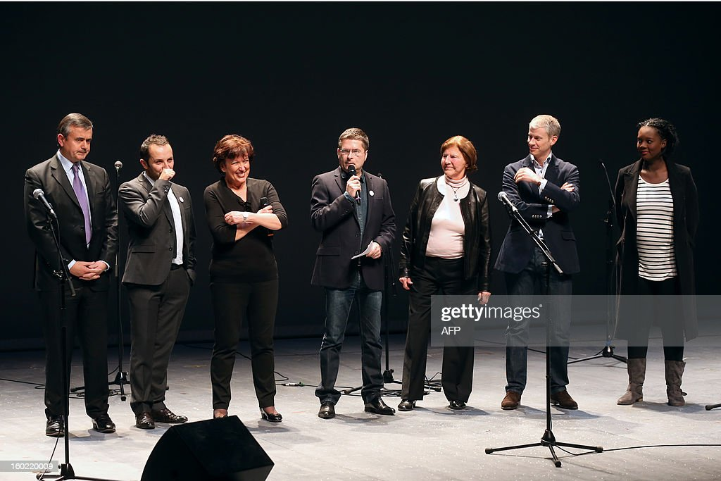 French right-wing politics attend a special event gathering artists and celebrities in support of French government plans to legalise gay marriage and same-sex adoption on January 27, 2013 in Paris, two days before parliament takes up the text, which has been met with strong opposition from the right and the Catholic Church.