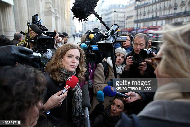 French rightwing UMP party candidate for Paris 2014 mayoral election Nathalie KosciuskoMorizet addresses journalists during a campaign visit on...