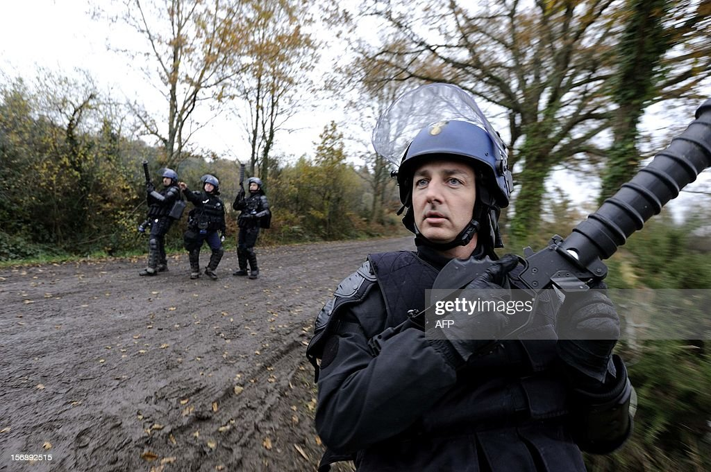 French riot police face protesters on November 24, 2012 as they seek to evict squatters from protected swampland where Prime Minister Jean-Marc Ayrault wants to build a new airport. Clashes between police and protesters resumed at Notre-Dame-des-Landes, outside the western city of Nantes, as officers fired tear gas and squatters threw stones and glass bottles at them in return.