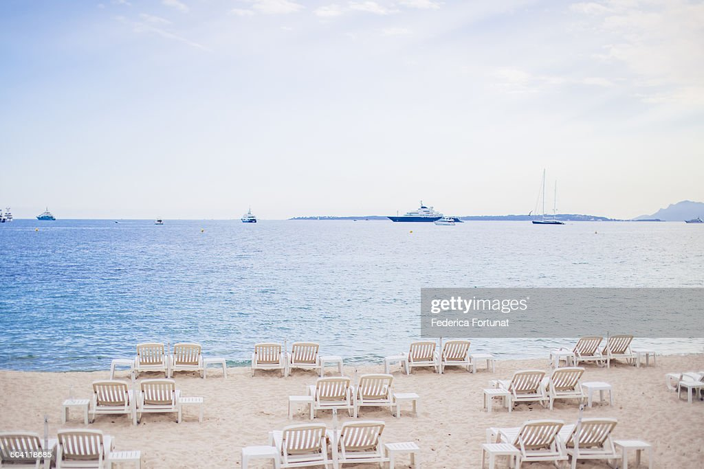 French Riviera beach with pastel tones