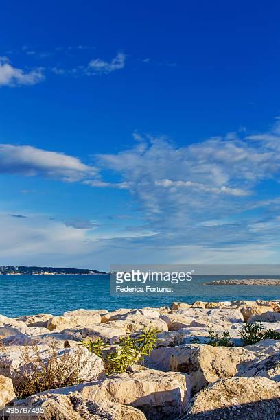 French Riviera rock beach
