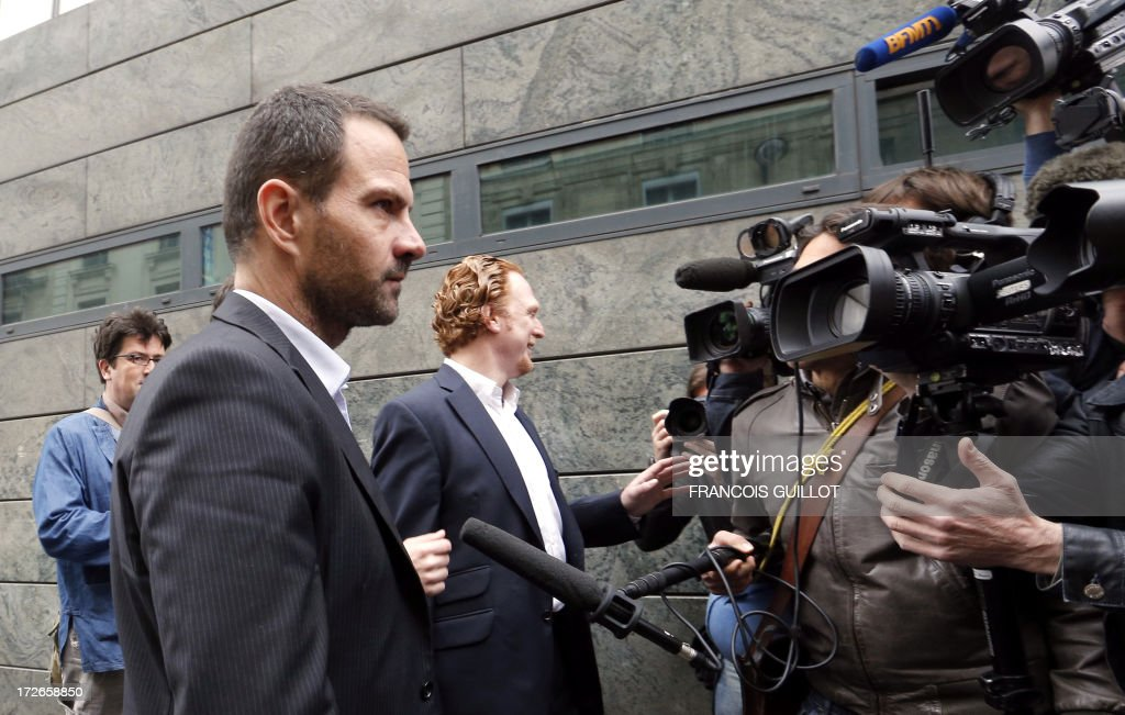 French rogue trader Jerome Kerviel (L) arrives on July 4, 2013 in Paris, at the Prudhommes court (judicial system of relations between workers and employees). Kerviel lost last year his appeal against a three-year jail term and a 4.9-billion-euro fine for his part in France's biggest rogue-trading scandal. The 35-year-old was convicted of forgery and breach of trust for gambling away nearly five billion euros ($6.3-billion) in risky deals as a star trader at Societe Generale, one of Europe's biggest banks.