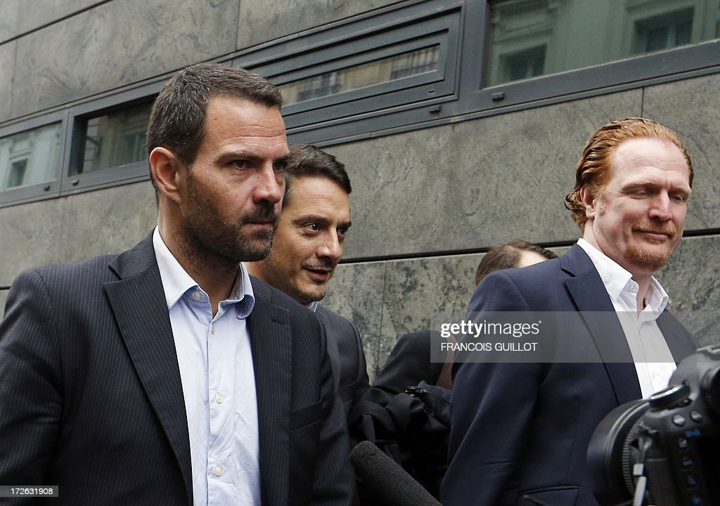 French rogue trader Jerome Kerviel (L) flanked by his lawyer his lawyerS David Koubbi (C) and Benoit Pruvost (1stR) arrive on July 4, 2013 in Paris, at the Prudhommes court (judicial system of relations between workers and employees) flanked by his lawyer David Koubbi ( ). Kerviel lost last year his appeal against a three-year jail term and a 4.9-billion-euro fine for his part in France's biggest rogue-trading scandal. The 35-year-old was convicted of forgery and breach of trust for gambling away nearly five billion euros ($6.3-billion) in risky deals as a star trader at Societe Generale, one of Europe's biggest banks.