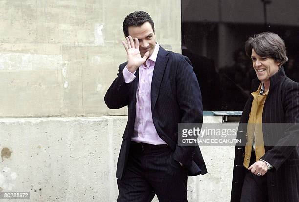 French rogue trader Jerome Kerviel gestures as he leaves 'La Sante' prison with his lawyer Elisabeth Meyer on March 18 2008 in Paris after a Paris...