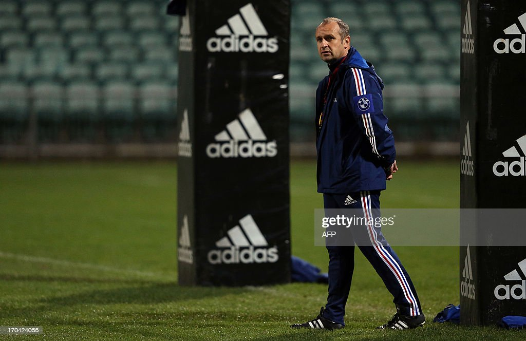 French rugby coach Philippe Saint Andre looks on during a training session in Auckland on June 13, 2013. France will play their second Test match against New Zealand's All Blacks on June 15.
