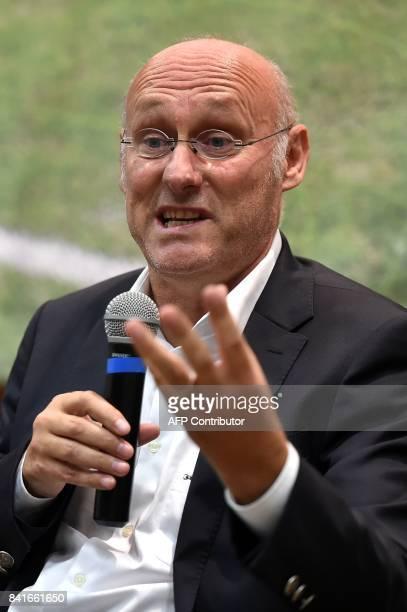 French Rugby Federation President Bernard Laporte speaks during a public debate in La BastidedeSerou on September 1 2017 / AFP PHOTO / REMY GABALDA