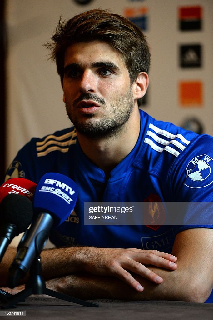 French rugby player fullback Hugo Bonneval speaks during a press conference in Sydney on June 17, 2014. France will face Australia's Wallabies on June 21, 2014 in the third rugby union test in Sydney. AFP PHOTO / Saeed KHAN