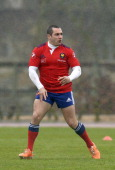 French rugby player JeanMarc Doussain takes part in a training session of the French national team in Marcoussis south of Paris on February 19 2014...