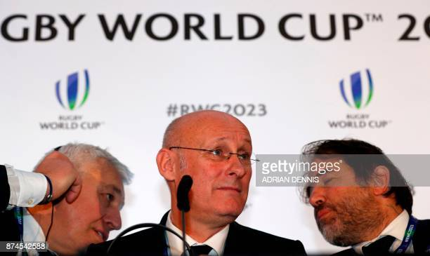 French rugby President Bernard Laporte gives an interview after France was named to host the 2023 Rugby World Cup in London on November 15 2017...