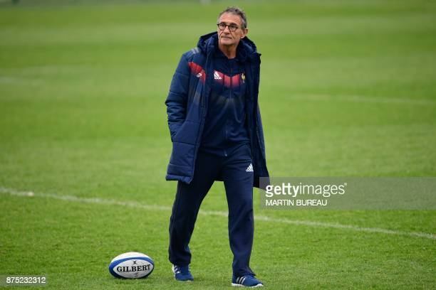 French rugby union national team's coach Guy Noves attends a captain's run session in Marcoussis near Paris on November 17 on the eve of the rugby...