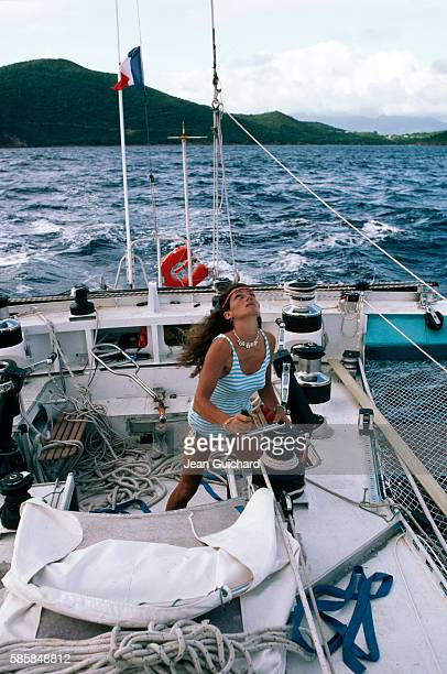 French saillor Florence Arthaud cruising aboard the Biotherm II in Guadeloupe