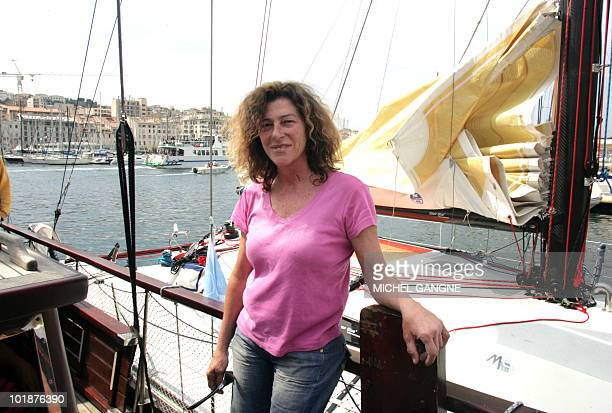 French sailor Florence Arthaud poses prior to take the start of the 'Route de l'Equateur' monohulls sailing race between Marseille and the Congo...