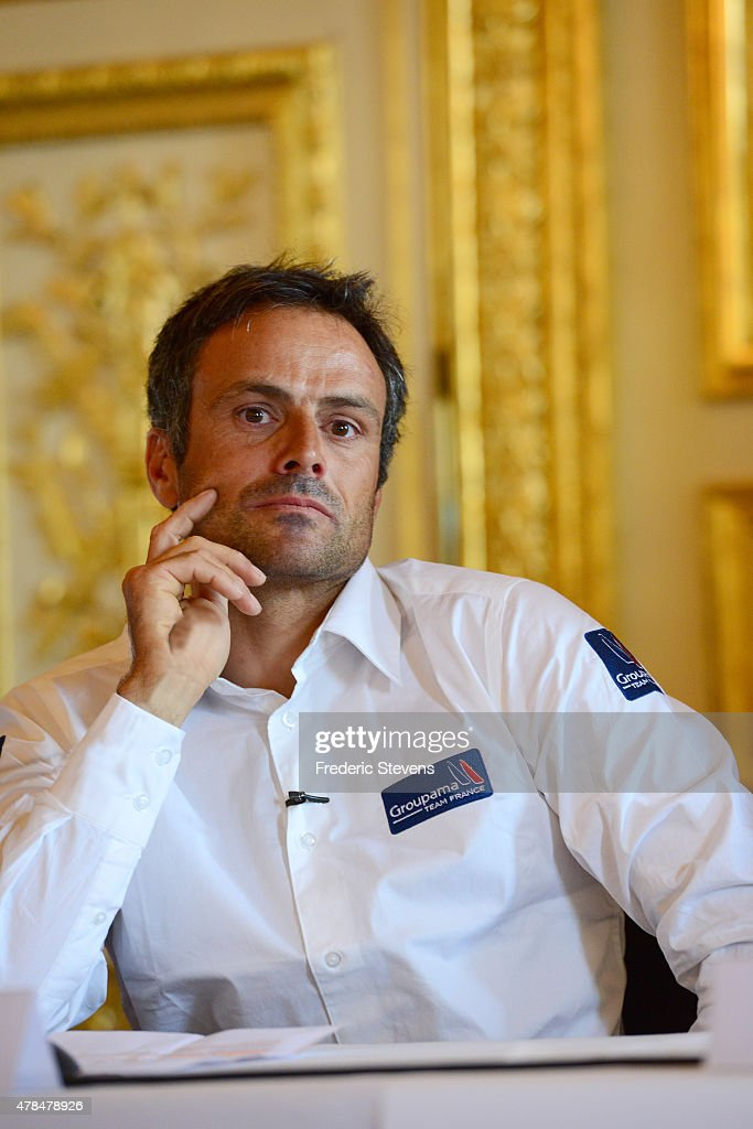 French sailor <a gi-track='captionPersonalityLinkClicked' href=/galleries/search?phrase=Franck+Cammas&family=editorial&specificpeople=773410 ng-click='$event.stopPropagation()'>Franck Cammas</a>, attends a press conference at l'Hotel de la Marine on June 25, 2015 in Paris, France. The Groupama Team France announces participation in the oldest sporting trophy in the world to be held in Bermuda in 2017, this will be the 35th edition of The America's Cup sailing competition.
