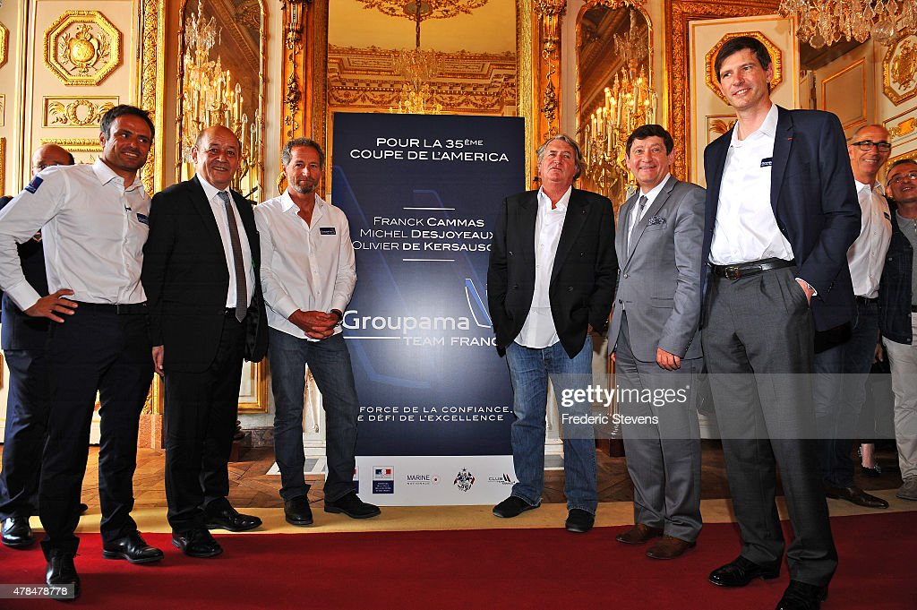 French sailor <a gi-track='captionPersonalityLinkClicked' href=/galleries/search?phrase=Franck+Cammas&family=editorial&specificpeople=773410 ng-click='$event.stopPropagation()'>Franck Cammas</a>, French Defence Minister <a gi-track='captionPersonalityLinkClicked' href=/galleries/search?phrase=Jean-Yves+Le+Drian&family=editorial&specificpeople=2122785 ng-click='$event.stopPropagation()'>Jean-Yves Le Drian</a>, French sailor <a gi-track='captionPersonalityLinkClicked' href=/galleries/search?phrase=Michel+Desjoyeaux&family=editorial&specificpeople=546222 ng-click='$event.stopPropagation()'>Michel Desjoyeaux</a>, French sailor Olivier de Kersauson, French Minister for Cities, Youth and Sports Patrick Kanner and Groupama director general Thierry Martel pose during a press conference at l'Hotel de la Marine on June 25, 2015 in Paris, France. The Groupama Team France announces participation in the oldest sporting trophy in the world to be held in Bermuda in 2017, this will be the 35th edition of The America's Cup sailing competition.