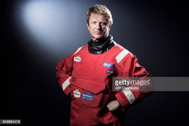 French sailor JeanPierre Dick poses during a photo session in Paris on September 19 2017 / AFP PHOTO / JOEL SAGET