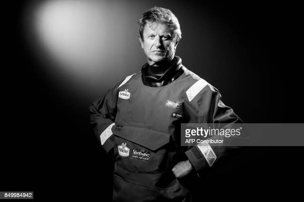 French sailor JeanPierre Dick poses during a photo session in Paris on September 19 2017 / AFP PHOTO / JOEL SAGET / BLACK AND WHITE VERSION