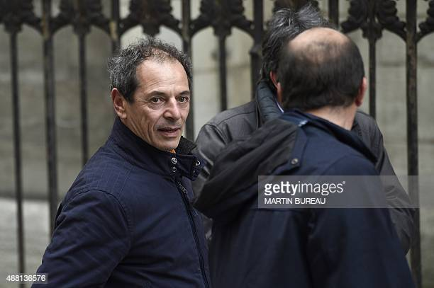 French sailor Marc Guillemot arrives at SaintSeverin church to attend the funeral of French sailor Florence Arthaud on March 30 2015 in Paris The...