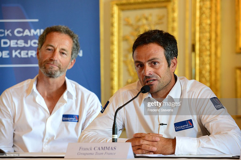French sailor <a gi-track='captionPersonalityLinkClicked' href=/galleries/search?phrase=Michel+Desjoyeaux&family=editorial&specificpeople=546222 ng-click='$event.stopPropagation()'>Michel Desjoyeaux</a>, French sailor <a gi-track='captionPersonalityLinkClicked' href=/galleries/search?phrase=Franck+Cammas&family=editorial&specificpeople=773410 ng-click='$event.stopPropagation()'>Franck Cammas</a>, attend a press conference at l'Hotel de la Marine on June 25, 2015 in Paris, France. The Groupama Team France announces participation in the oldest sporting trophy in the world to be held in Bermuda in 2017, this will be the 35th edition of The America's Cup sailing competition.