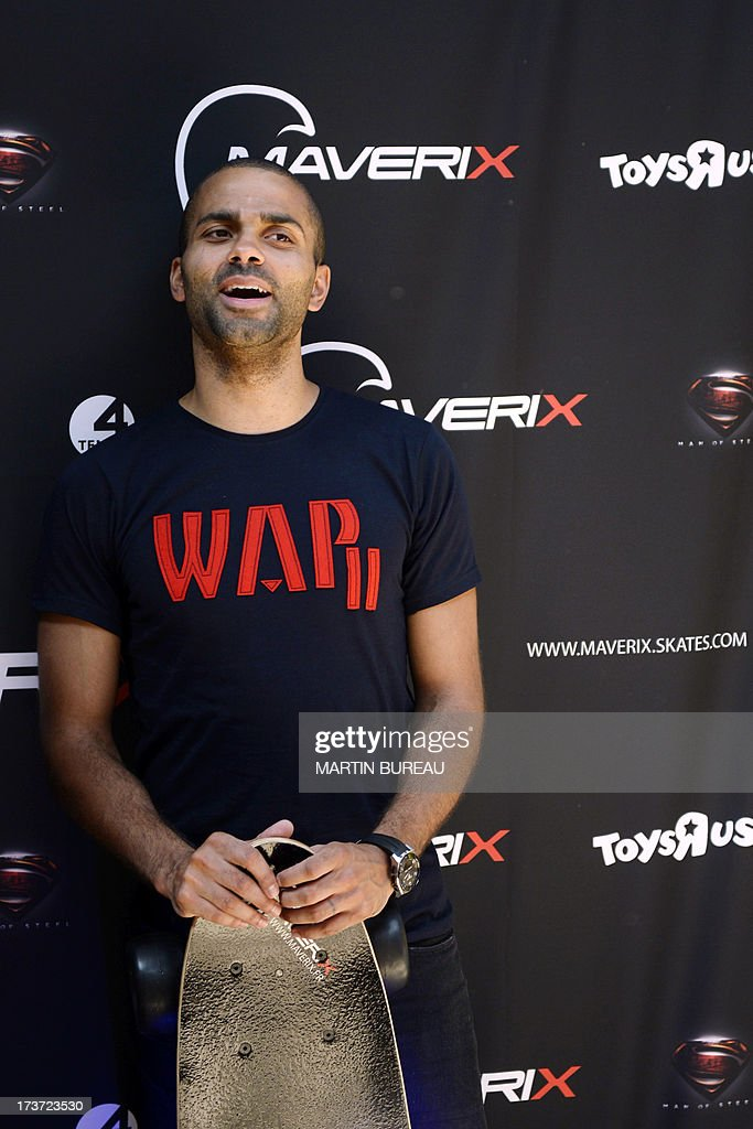 French San Antonio Spurs basketball player Tony Parker poses during a photocall, on June 17, 2013 in La Defense, near Paris.