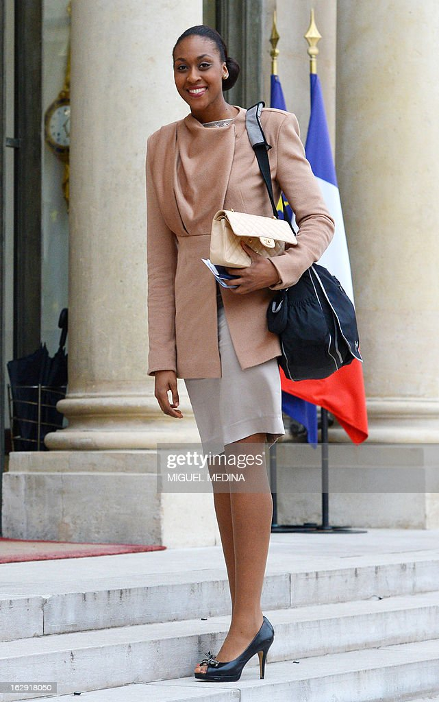 French Sandrine Gruda basketball silver medalist at the 2012 London olympics games, arrives at the Elysee Palace in Paris to attend a ceremony on March 1, 2013 in Paris.