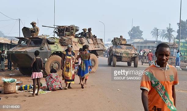 French Sangaris forces patrol in muslim district of PK 5 in Bangui as people go to the polls to take part in the Central African Republic second...