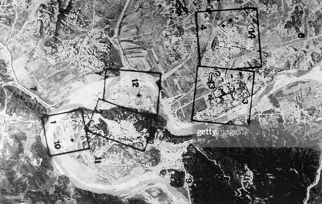 A French satellite image taken in March 1994 showing an aerial view of North Korea's Yongbyon nuclear complex 95 kilometers north of Pyongyang The...