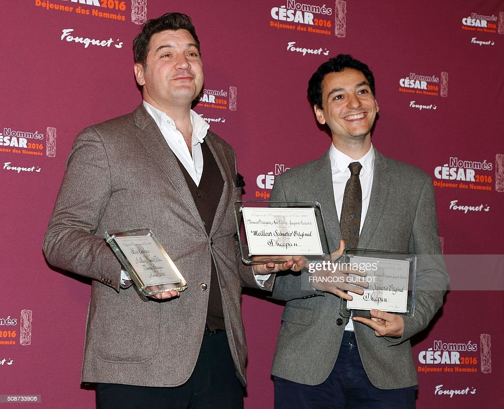 French screenwriter Thomas Bidegain (L) and French actor Noé Debré pose with their nominations for Best Original Screenplay and Best First Feature Film during the nominations event for the 2016 César film awards, on February 6, 2016 in Paris. The 41st Ceremony for the Cesar film award, considered as the highest film honour in France, will take place on February 26, 2016. / AFP / FRANCOIS GUILLOT