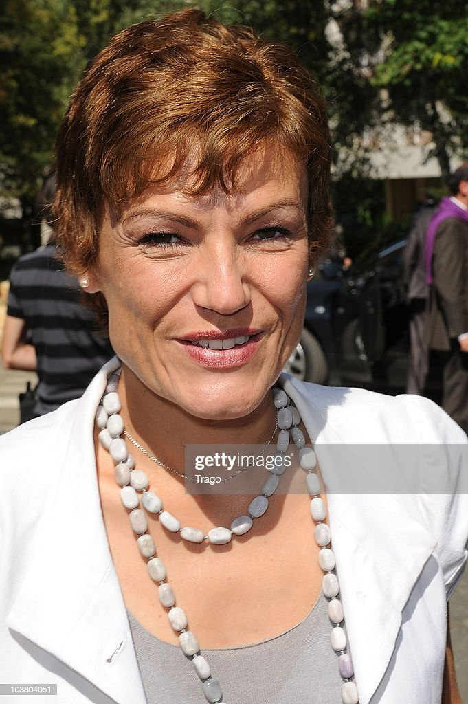 French Secretary of State for Ecology <a gi-track='captionPersonalityLinkClicked' href=/galleries/search?phrase=Chantal+Jouanno&family=editorial&specificpeople=5673060 ng-click='$event.stopPropagation()'>Chantal Jouanno</a> attends the Mouvement des Entreprises de France (MEDEF) Summer University conference on September 2, 2010 in Jouy-en-Josas, France. The MEDEF, the largest employers union in France, met as the government has proposed raising the age of eligibility for a full pension from 65 to 67.