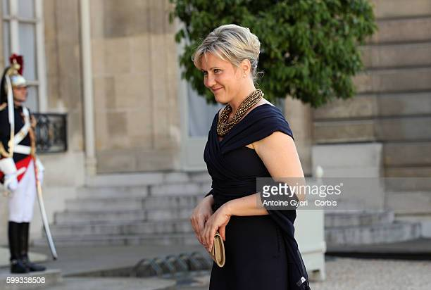 French Secretary of State for Family Nadine Morano arrives at the Elysee Palace for a state dinner with Qatar's Emir Sheik Hamad Bin Khalifa AlThani...