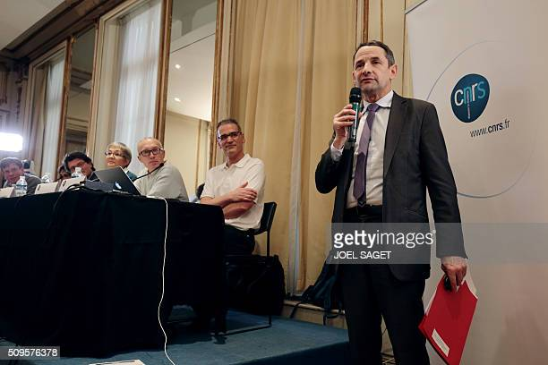 French Secretary of State for Higher Education Thierry Mandon addresses guests of a press briefing of the CNRS on gravitational wave research by LIGO...