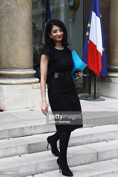 French Secretary of State to the Minister of National Education Jeannette Bougrab leaves the weekly french cabinet meeting at Elysee Palace on June 8...