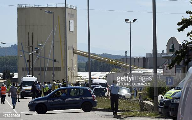 French security and emergency services gather at the entrance of the Air Products company in SaintQuentinFallavier near Lyon central eastern France...