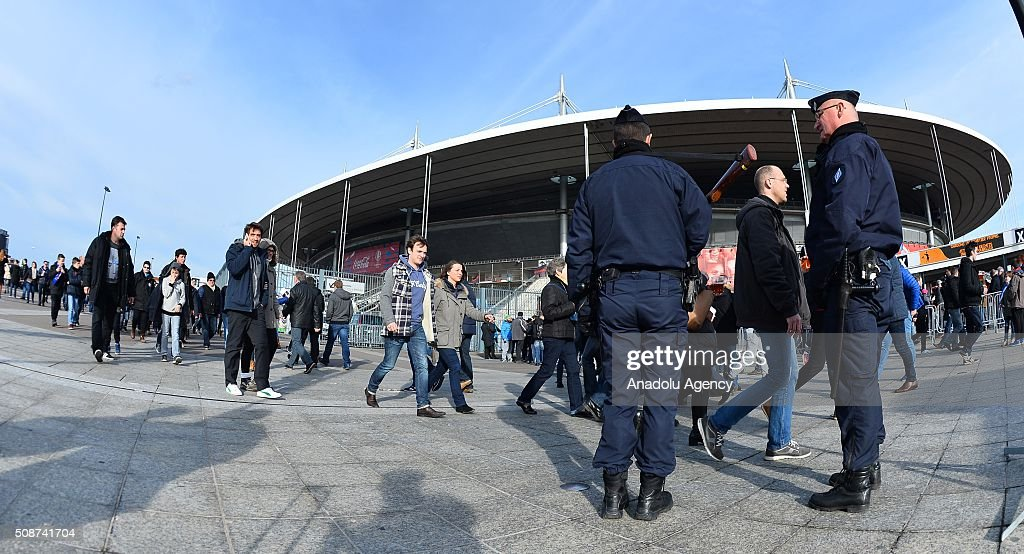 French security forces take security measures before the RBS Six Nations match between France and Italy at Stade de France on February 6, 2016 in Paris, France. This is the first sport competition after the Paris attacks.