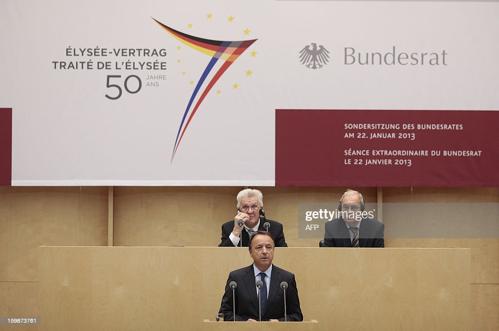 French Senate President Jean-Pierre Bel (1st row C) speaks during a special joint plenary session on January 22, 2013 at the Bundesrat in Berlin as part of the celebration to mark 50 years since the Elysee Treaty launched after WWII French-German cooperation. In signing the landmark treaty on January 22, 1963, then French president Charles de Gaulle and West German chancellor Konrad Adenauer sealed a new era of reconciliation between the former foes which has since driven European unity. AFP PHOTO / CARSTEN KOALL