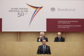 French Senate President JeanPierre Bel speaks during a special joint plenary session on January 22 2013 at the Bundesrat in Berlin as part of the...