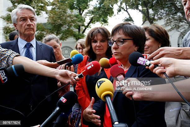 French senator of Calvados departement and member of the leftwing Socialit Party Corinne Feret flanked by French Senator of the department of BasRhin...