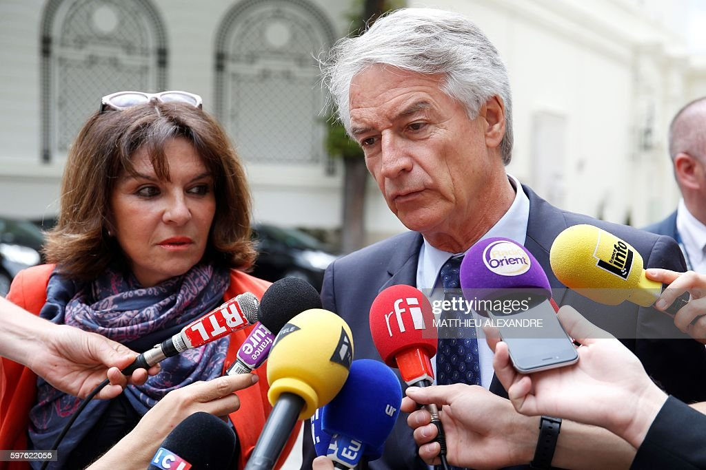 French Senator of the department of BasRhin and member of the rightwing Les Republicains party Andre Reichardt flanked by French Senator of the Orne...