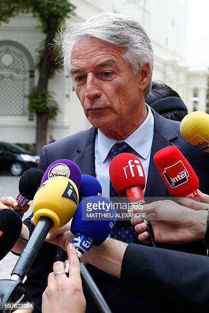 French Senator of the department of BasRhin and member of the rightwing Les Republicains party Andre Reichardt speaks to journalists following a...