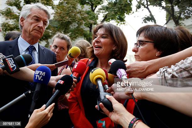 French Senator of the Orne department and member of Union of Democrats and Independents group Nathalie Goulet flanked by French Senator of the...