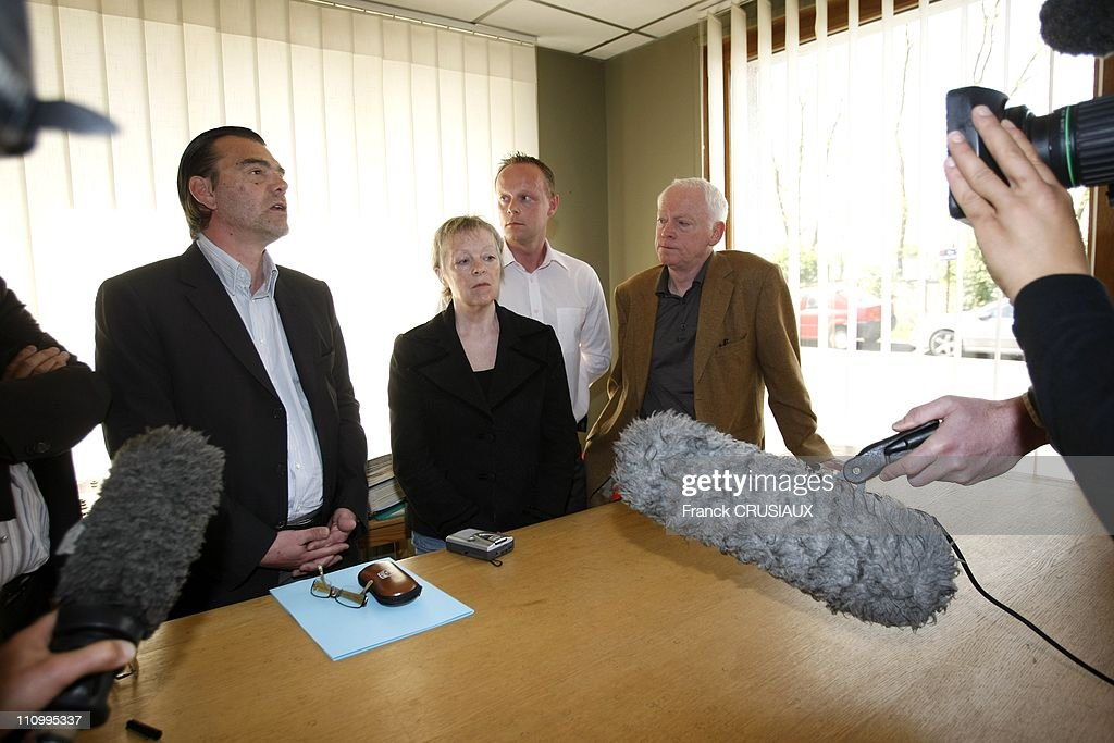 A French sentenced to 96 years in prison for kidnapping in Mexico at the Press Conference of Florence Cassez 's parents in Lille, France on May 05th, 2007 - From left to right, Mr - Franck Berton, lawyer of Florence Cassez, <a gi-track='captionPersonalityLinkClicked' href=/galleries/search?phrase=Charlotte+Cassez&family=editorial&specificpeople=5331158 ng-click='$event.stopPropagation()'>Charlotte Cassez</a> , mother of
