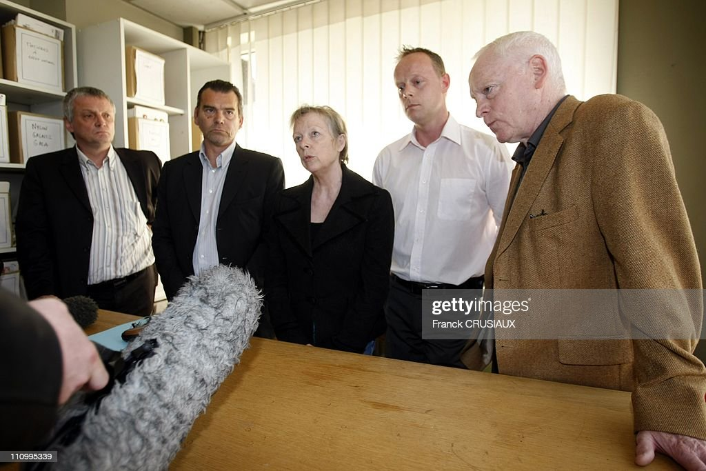 A French sentenced to 96 years in prison for kidnapping in Mexico at the Press Conference of Florence Cassez 's parents in Lille, France on May 05th, 2007 - From left to right, Thierry Lazaro, UMP deputy of the North, Mr - Franck Berton, a lawyer from F