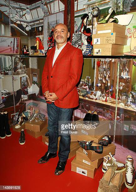 French shoe designer Christian Louboutin attends a preview of an exhibition celebrating 20 years of Christian Louboutin designs at the Design Museum...